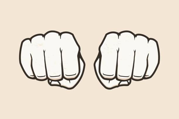 stockillustraties, clipart, cartoons en iconen met vuisten - punch