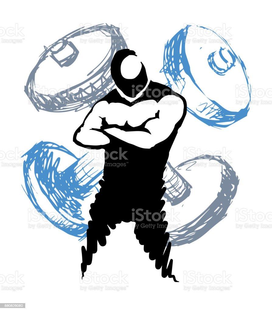 Fit body, Gym symbol. Sketch style illustration vector art illustration