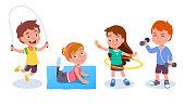 istock Fit boys & girls kids training & doing sport exercises. Smiling children skipping rope, spinning hula hoop, raising dumbbells & doing gymnastics. Fitness & wellness. Flat vector character illustration 1254829406