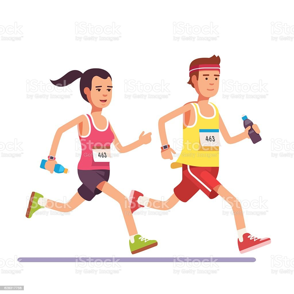 Fit couple running a marathon together vector art illustration