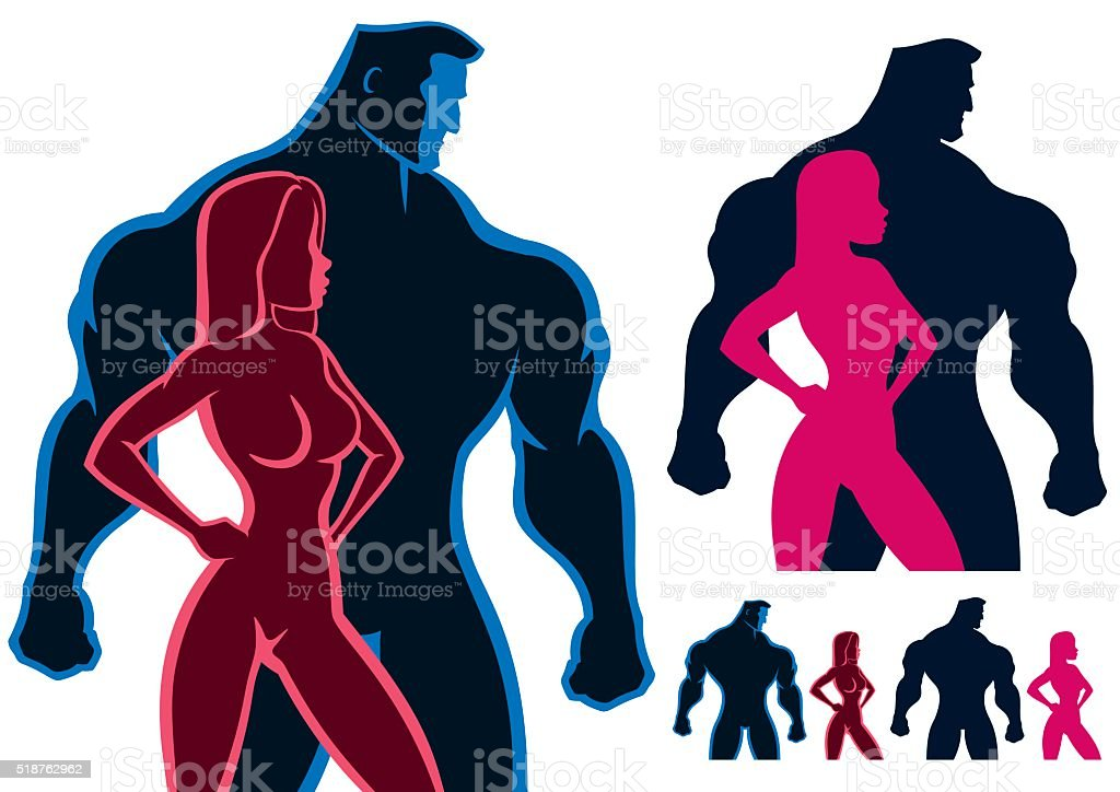 Fit Couple vector art illustration