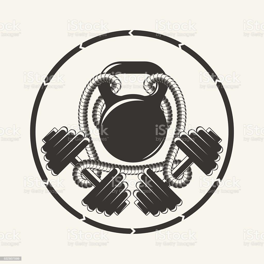 Fit emblem vector art illustration