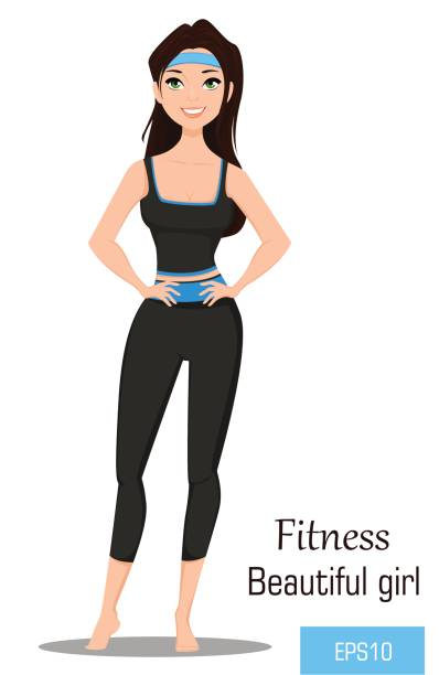 Fit woman in sportswear. Beautiful brunette fitness girl doing exercises barefoot. Vector illustration. Fitness as a lifestyle. EPS10. vector art illustration