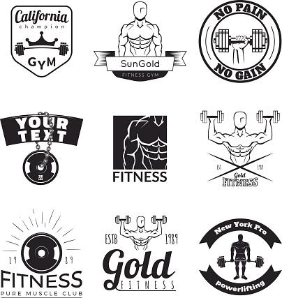 Fitnes icons isolated on white background