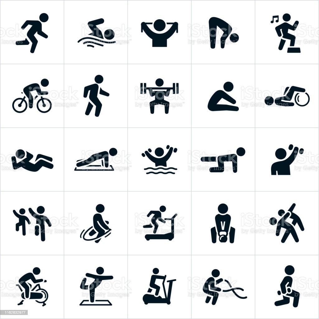 Fitness activiteiten iconen - Royalty-free Actieve levenswijze vectorkunst
