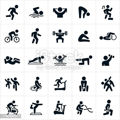 A set of different exercise activities to achieve or maintain physical fitness. The icons include a person running, swimming, stretching, cycling, walking, weight lifting, doing a sit-up, a pushup, water aerobics, step aerobics, strengthening, jump roping, running on a treadmill, lifting a kettle bell, riding an exercise bike, doing yoga, using an elliptical machine, using battling ropes and performing lunges to name a few.