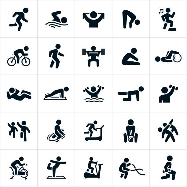 ilustraciones, imágenes clip art, dibujos animados e iconos de stock de iconos de actividades de fitness - natación