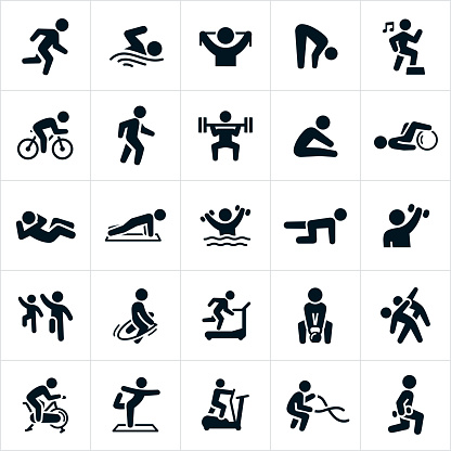 fitness icons stock illustrations