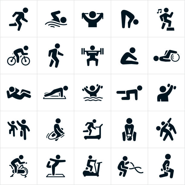 Fitness Activities Icons A set of different exercise activities to achieve or maintain physical fitness. The icons include a person running, swimming, stretching, cycling, walking, weight lifting, doing a sit-up, a pushup, water aerobics, step aerobics, strengthening, jump roping, running on a treadmill, lifting a kettle bell, riding an exercise bike, doing yoga, using an elliptical machine, using battling ropes and performing lunges to name a few. exercising stock illustrations