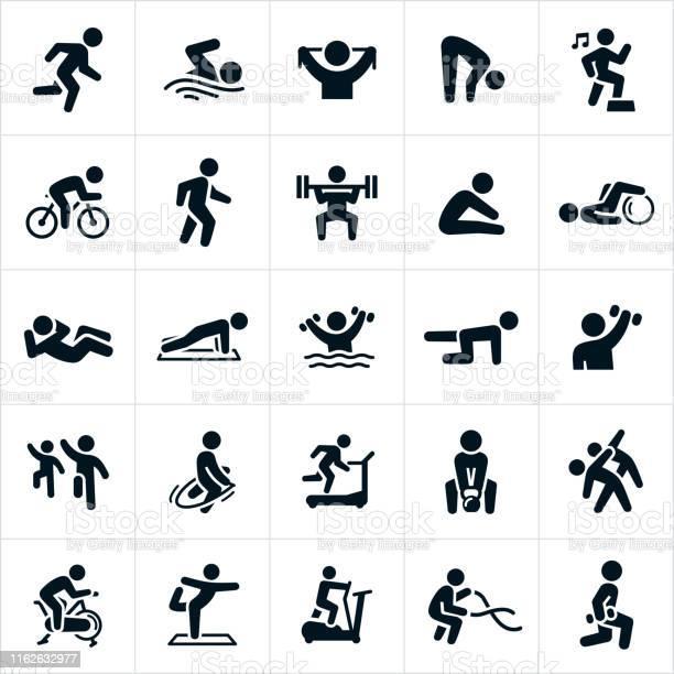 Fitness Activiteiten Iconen Stockvectorkunst en meer beelden van Actieve levenswijze