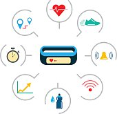 Set of icons fitness bracelet. Fitness tracker pedometer. Fitness tracker with alarm function. Sync fitness tracker and smart phone. Fitness tracker with heart rate monitor function. Linear style.