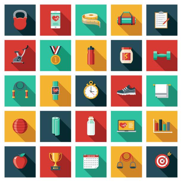bildbanksillustrationer, clip art samt tecknat material och ikoner med tränings- och träningsikonuppsättning - calendar workout