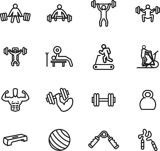 Conjunto de iconos de ejercicios y gimnasio. Ilustración de vectores. - ilustración de arte vectorial