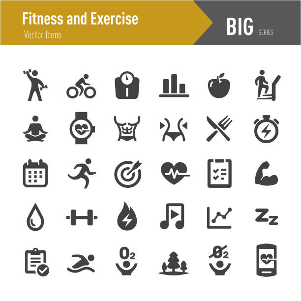 Fitness and Exercise Icons - Big Series Fitness, Exercise, weight loss stock illustrations