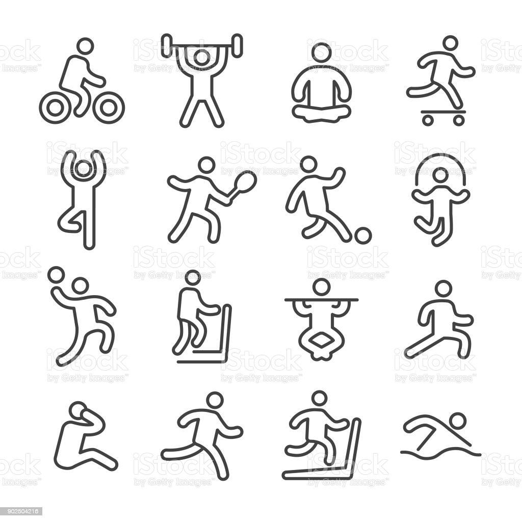 Fitness und Bewegung Ikonen - Line Serie - Lizenzfrei Athlet Vektorgrafik