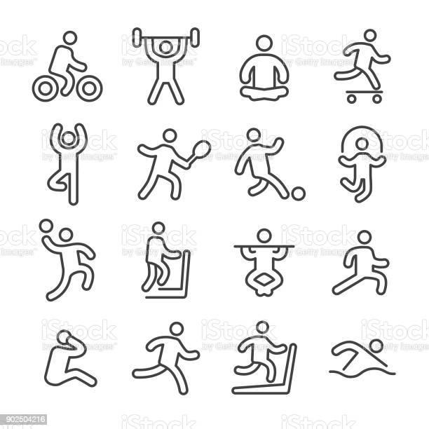 Fitness Und Bewegung Ikonen Line Serie Stock Vektor Art und mehr Bilder von Athlet
