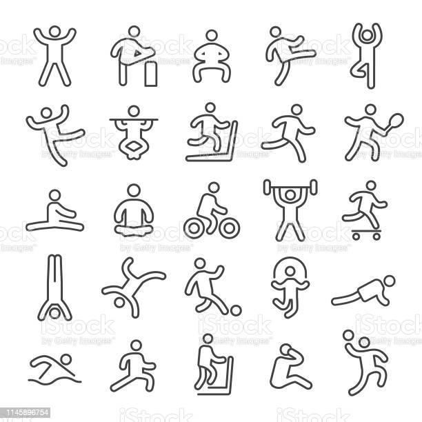 Fitness Und Übung Iconssmart Line Series Stock Vektor Art und mehr Bilder von Athlet