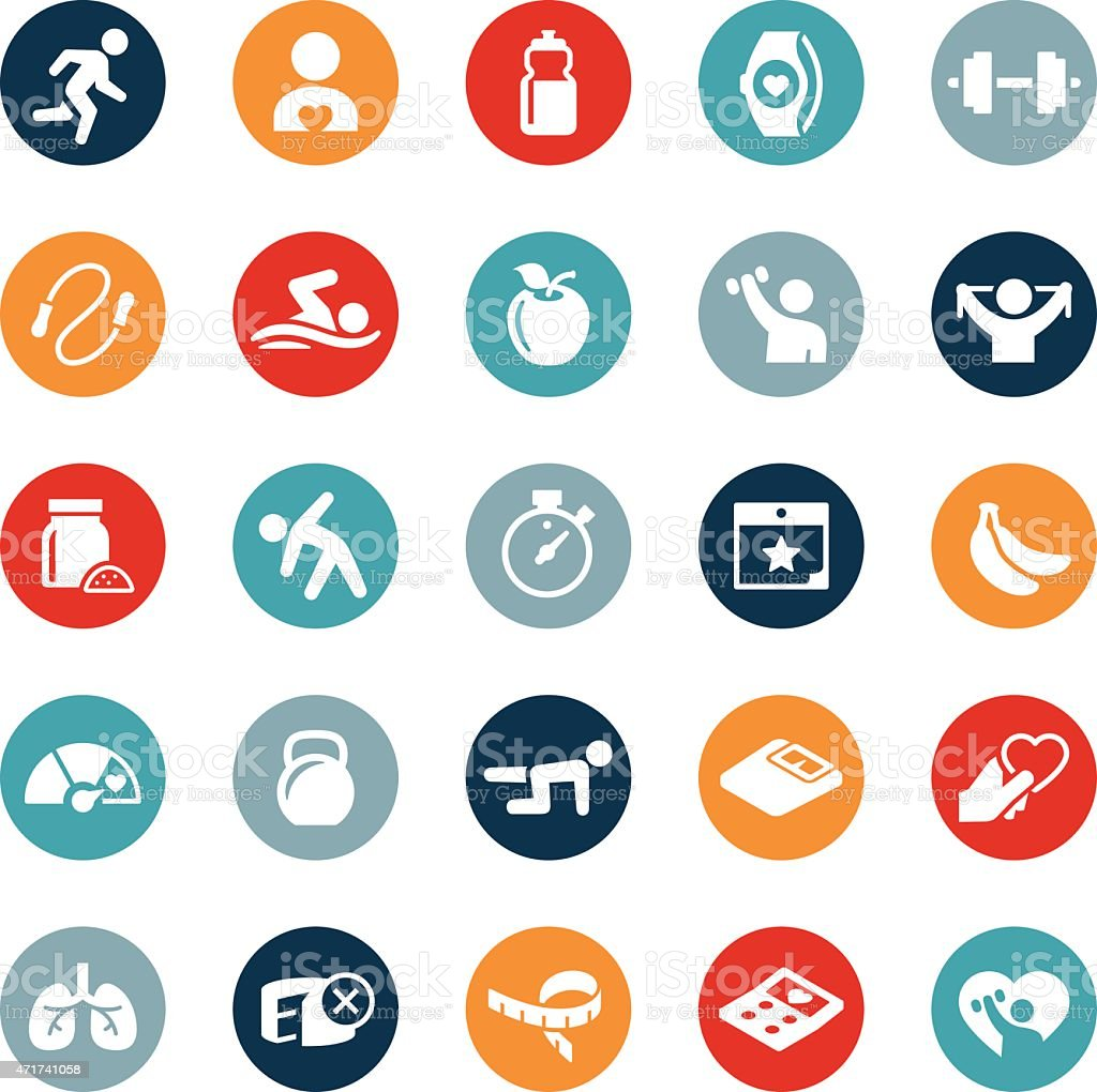 Iconos de ejercicios y gimnasio - ilustración de arte vectorial