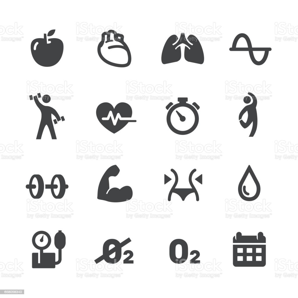 Fitness and Exercise Program Icons - Acme Series vector art illustration
