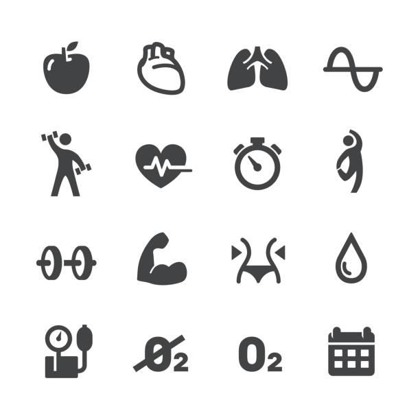 fitness und bewegung programm-icons - acme-serie - sauerstoff stock-grafiken, -clipart, -cartoons und -symbole