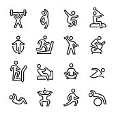 Fitness and Exercising Icons - Line Series