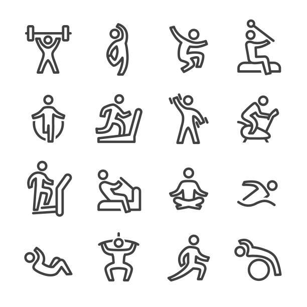 Fitness and Exercising Icons - Line Series Fitness, Exercising, exercise equipment, healthy lifestyle exercise machine stock illustrations