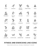 Fitness And Exercising Line Icons Vector EPS 10 File, Pixel Perfect Icons.