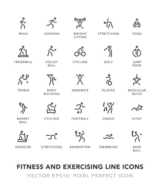 Fitness And Exercising Line Icons vector art illustration