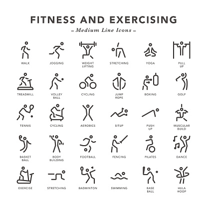 Fitness And Exercising - Medium Line Icons