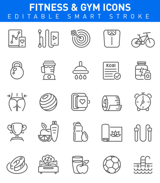 Fitness and Gym Icons. Editable stroke Healthy Lifestyle Concept with fitness, dieting, yoga, sport symbols exercise machine stock illustrations