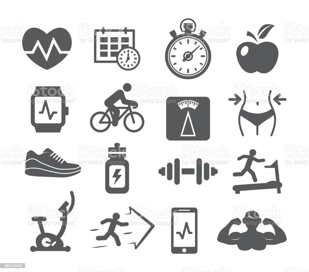 Fitness and Gym icons vector art illustration