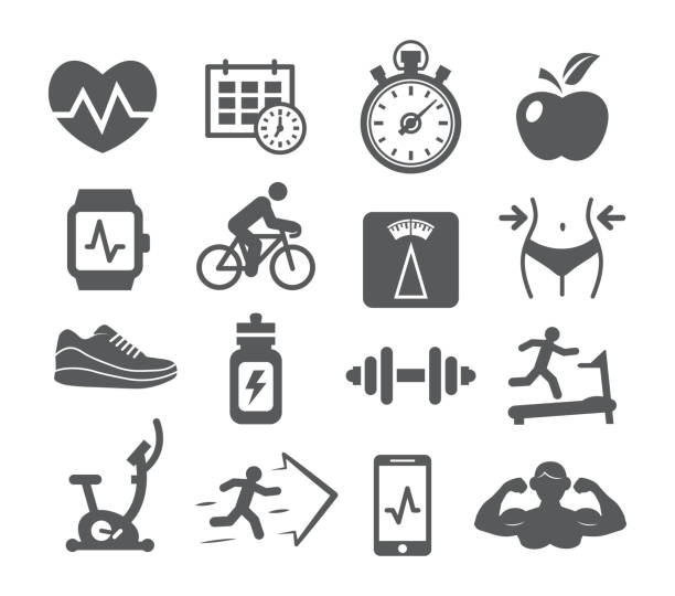 Fitness and Gym icons Fitness and Gym icons set on white background weight loss stock illustrations