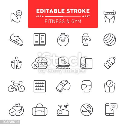 Fitness, icons, sport, editable stroke, exercising, healthy lifestyle, outline, running, training, dieting
