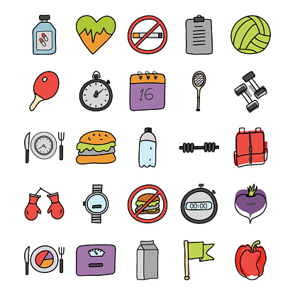 Fitness and Health Doodle Icons Pack