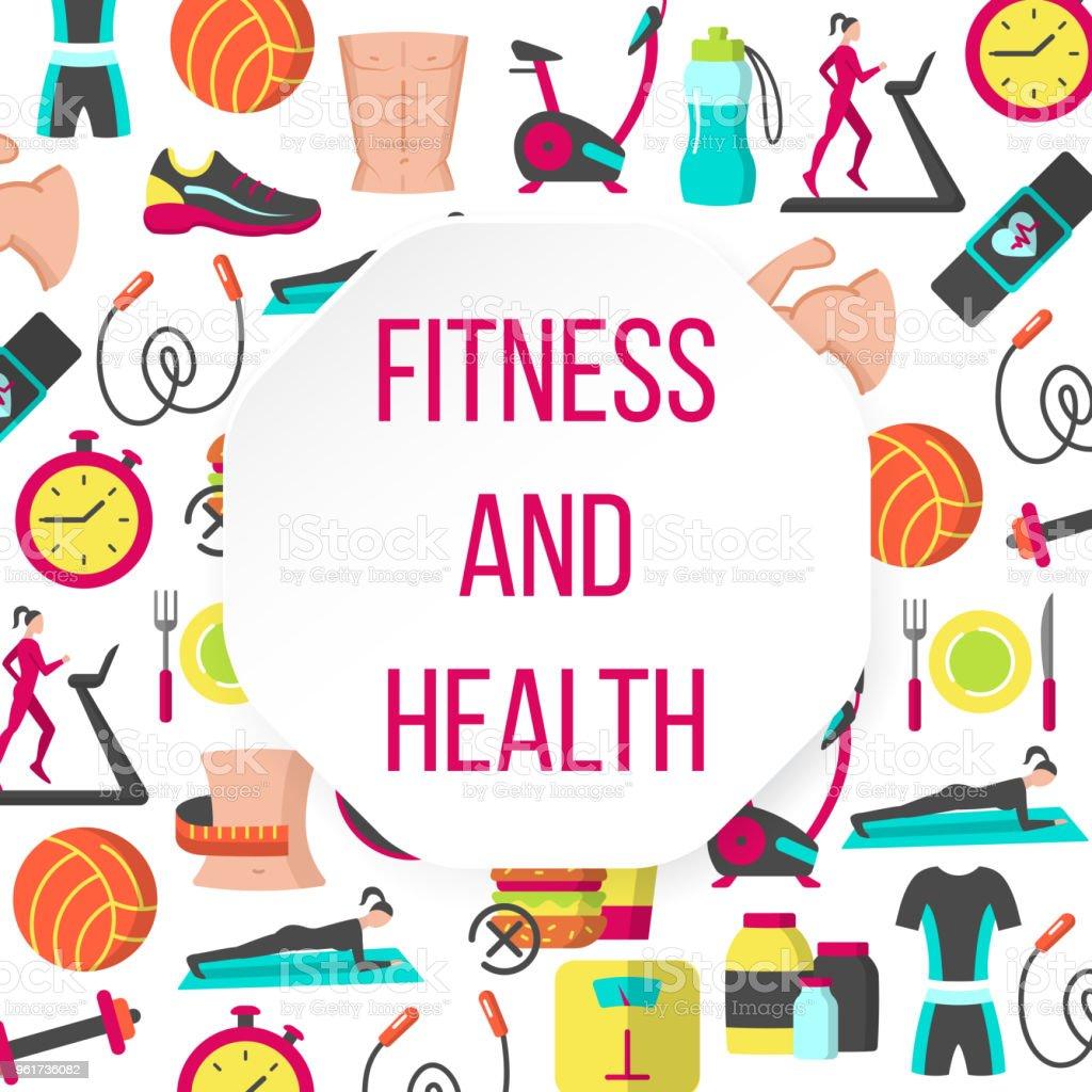 Fitness and health frame vector art illustration