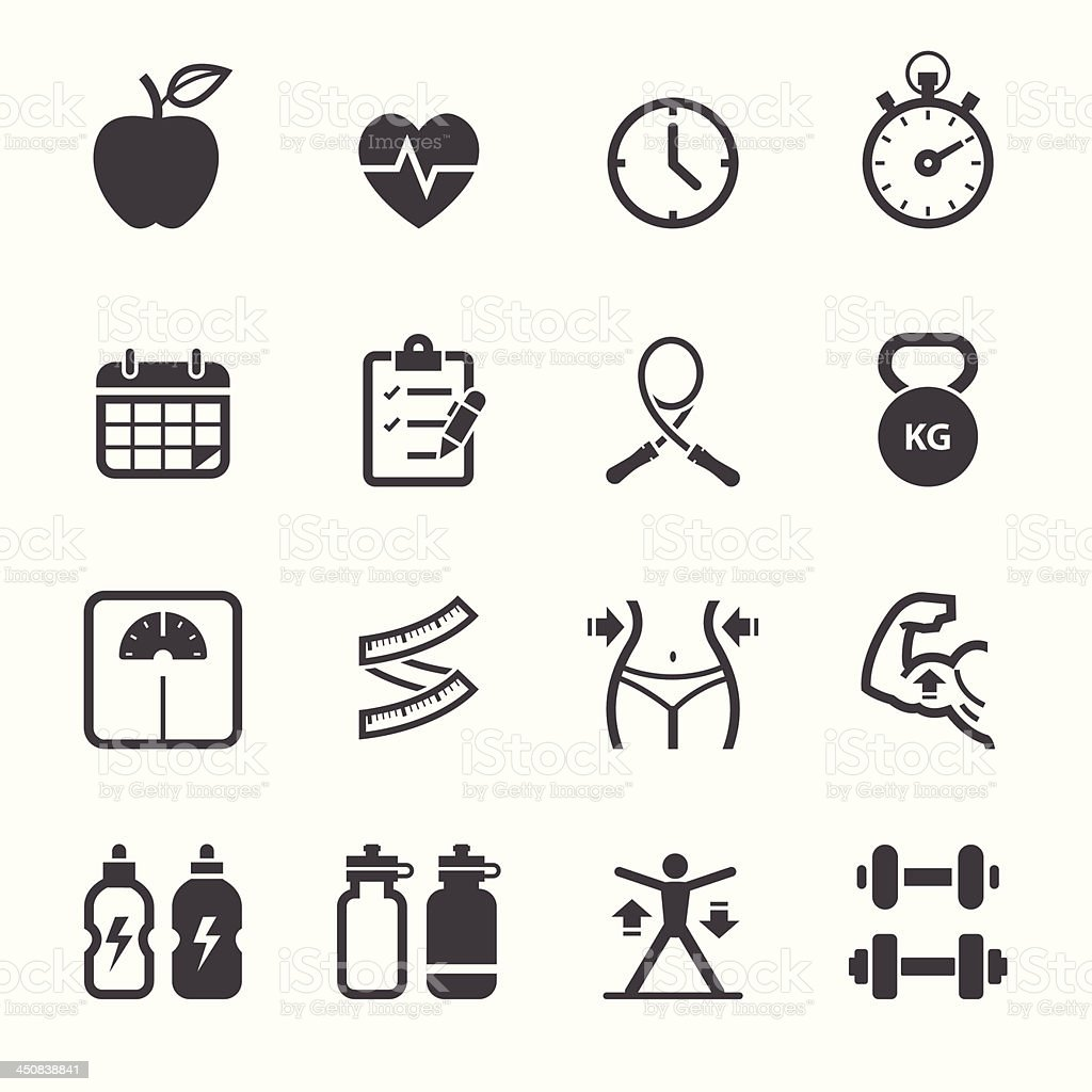 Fitness and Health icons vector art illustration