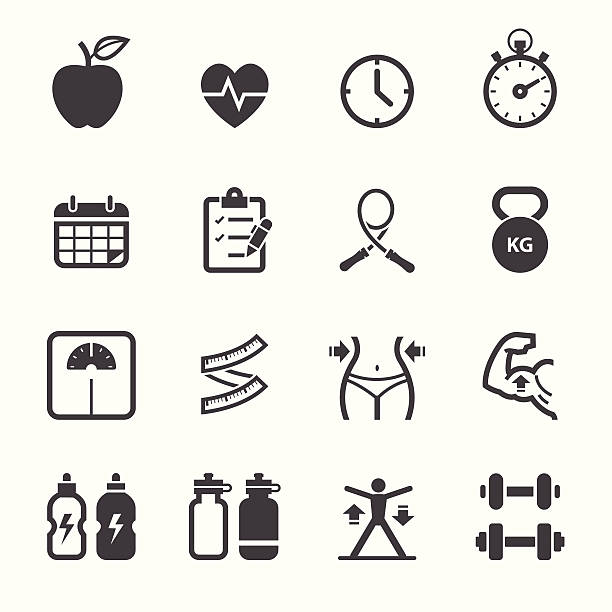 Fitness and Health icons Fitness and Health icons with White Background weight loss stock illustrations