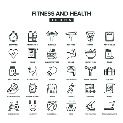 Fitness And Health Line Icon Set