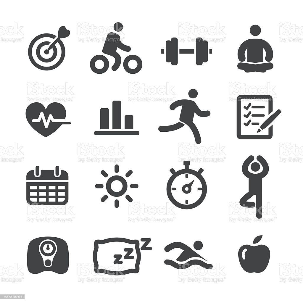 Fitness and Healthy Icons Set - Acme Series vector art illustration