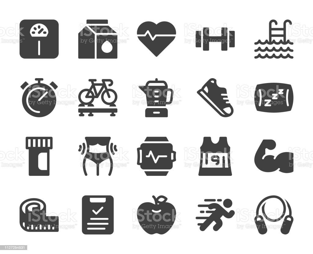 Fitness and Healthy Life - Icons vector art illustration
