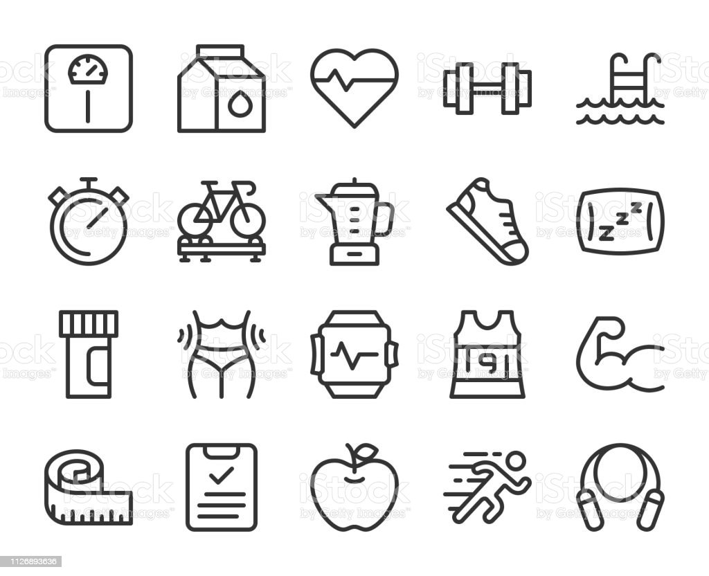 Fitness and Healthy Life - Line Icons vector art illustration
