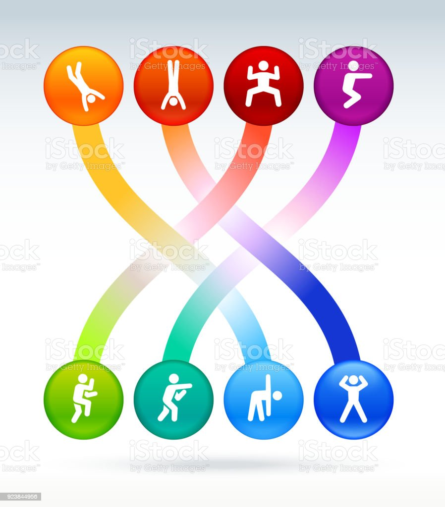 Fitness and healthy lifestyle colorful buttons background vector art illustration