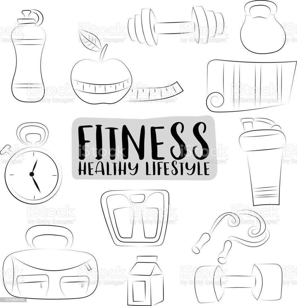 Fitness Ve Saglikli Yasam Tarzi Simgeleri Ayarlayin Siyah Ve Beyaz