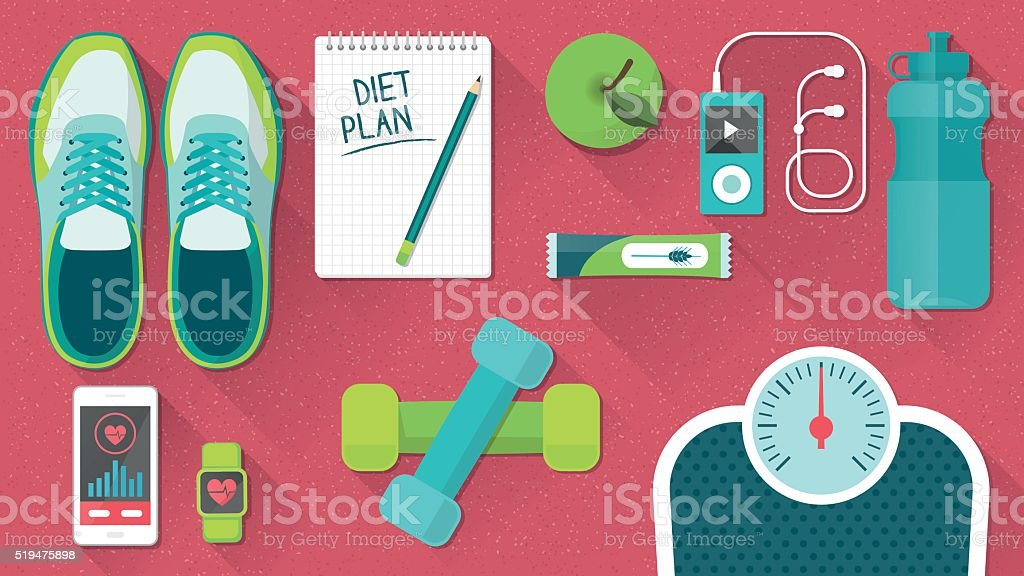 Fitness and healthy lifestyle vector art illustration