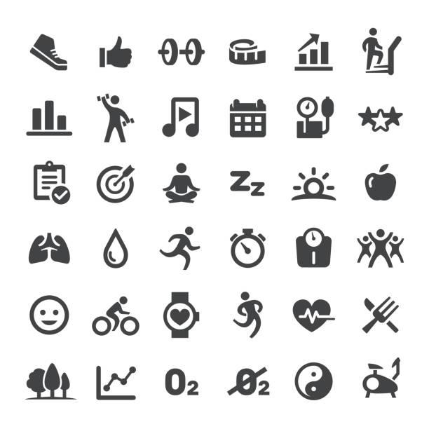 illustrazioni stock, clip art, cartoni animati e icone di tendenza di fitness and healthy vector icons - balance graphics