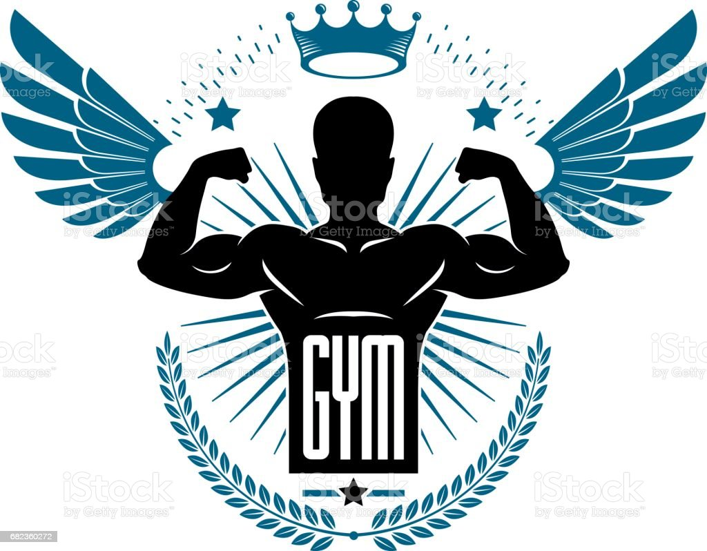 Fitness and heavyweight gym sport club icontype template, retro style vector emblem with wings. With sportsman silhouette. fitness and heavyweight gym sport club icontype template retro style vector emblem with wings with sportsman silhouette - immagini vettoriali stock e altre immagini di adulto royalty-free
