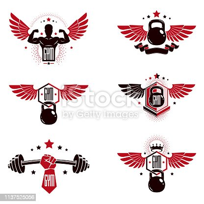 Fitness and heavyweight gym sport club templates, retro style vector emblems set.