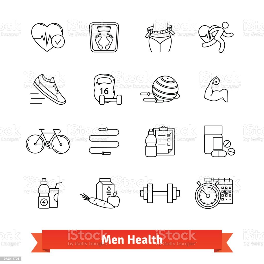 Fitness and men health. Thin line art icons set vector art illustration