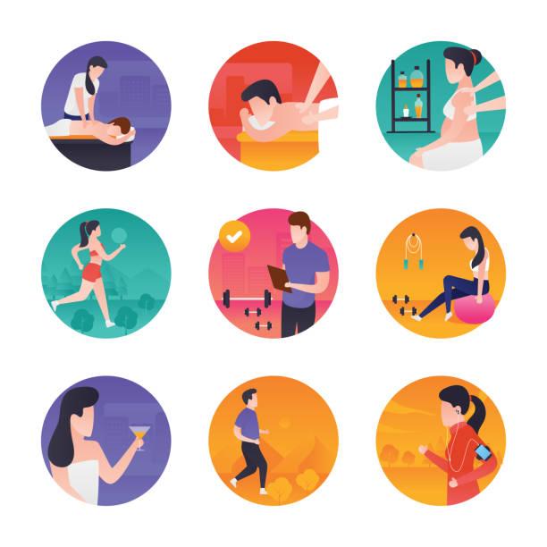 ilustraciones, imágenes clip art, dibujos animados e iconos de stock de correr de ilustraciones de spa y gimnasio, trotar, entrenamiento tabla de fitness, instructor de gimnasio, objetivos del gimnasio, bola de la gimnasia, bebida sana, ejercicio de pesas, halterofilia, entrenamiento de gimnasio, entrenamiento gimnasio, activi - entrenador personal