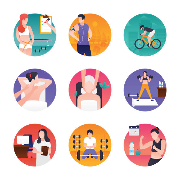 Fitness And Spa Pack vector art illustration